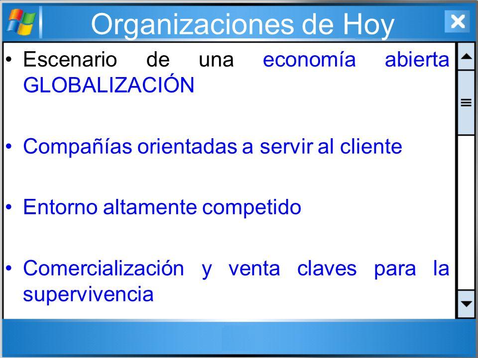 Organizaciones de Hoy Escenario de una economía abierta GLOBALIZACIÓN