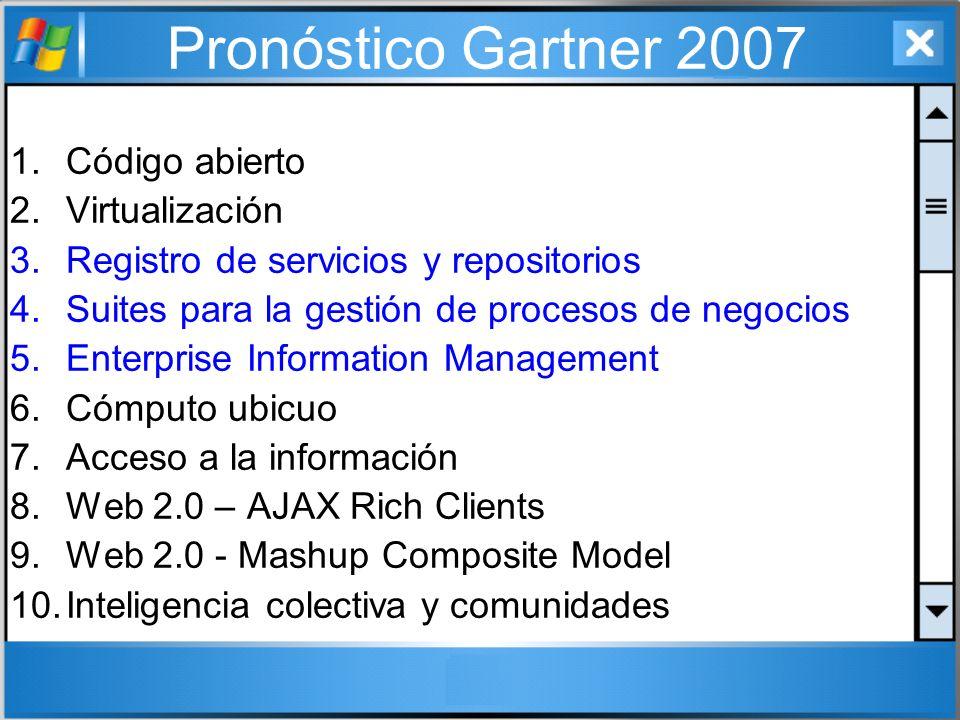 Pronóstico Gartner 2007 Código abierto Virtualización