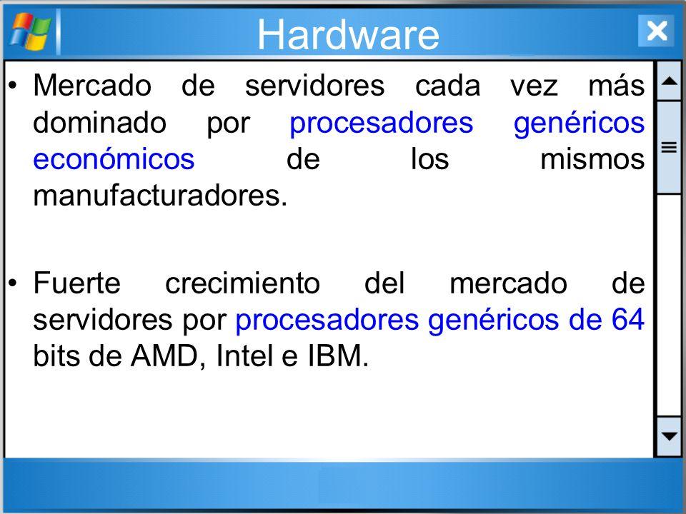 Hardware Mercado de servidores cada vez más dominado por procesadores genéricos económicos de los mismos manufacturadores.