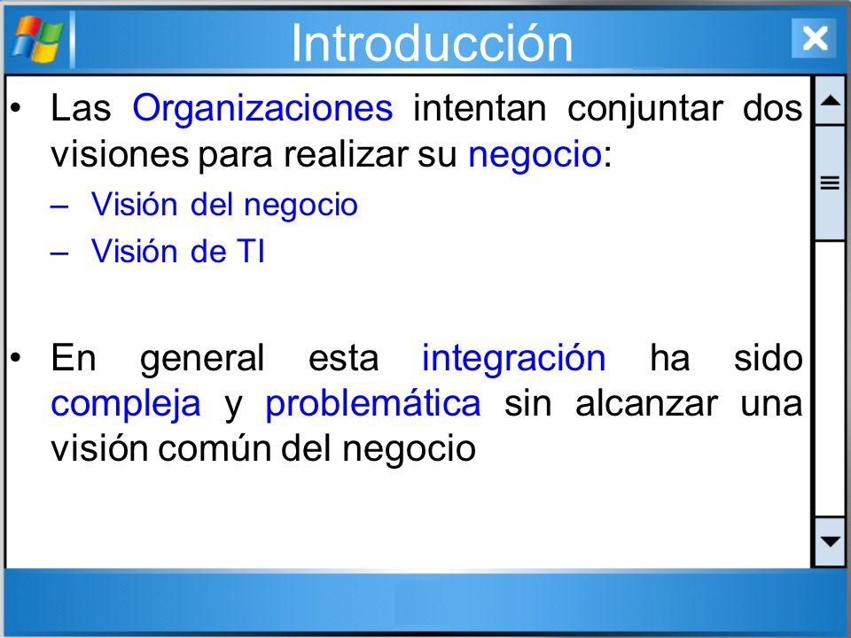 Introducción Las Organizaciones intentan conjuntar dos visiones para realizar su negocio: Visión del negocio.