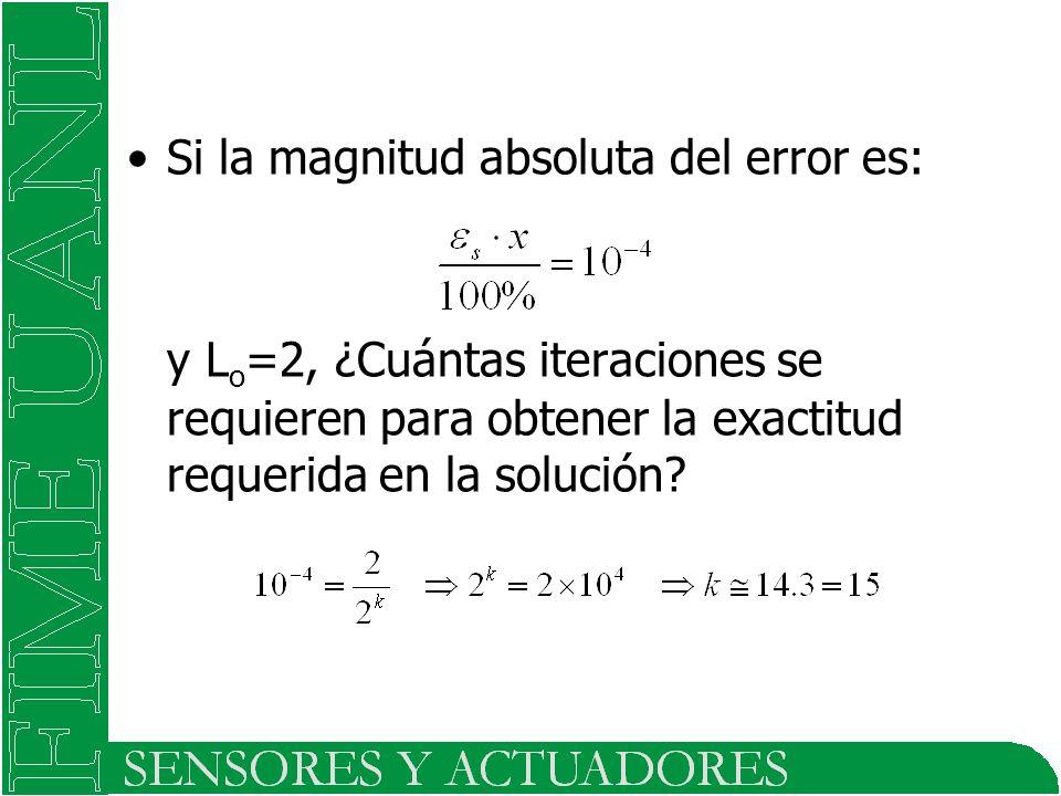 Si la magnitud absoluta del error es: