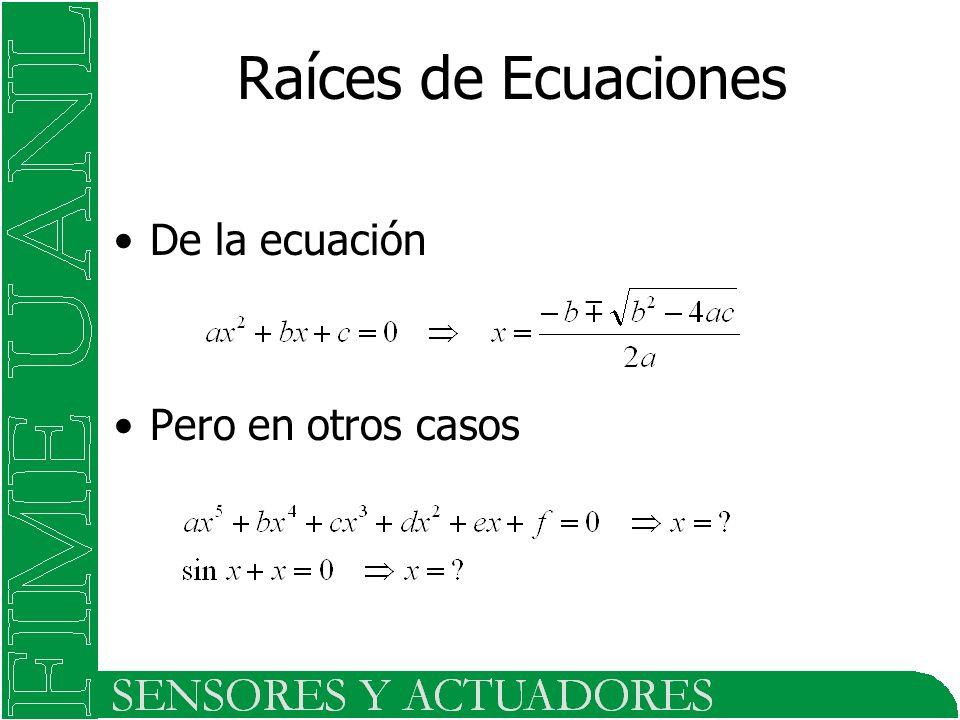 Raíces de Ecuaciones De la ecuación Pero en otros casos
