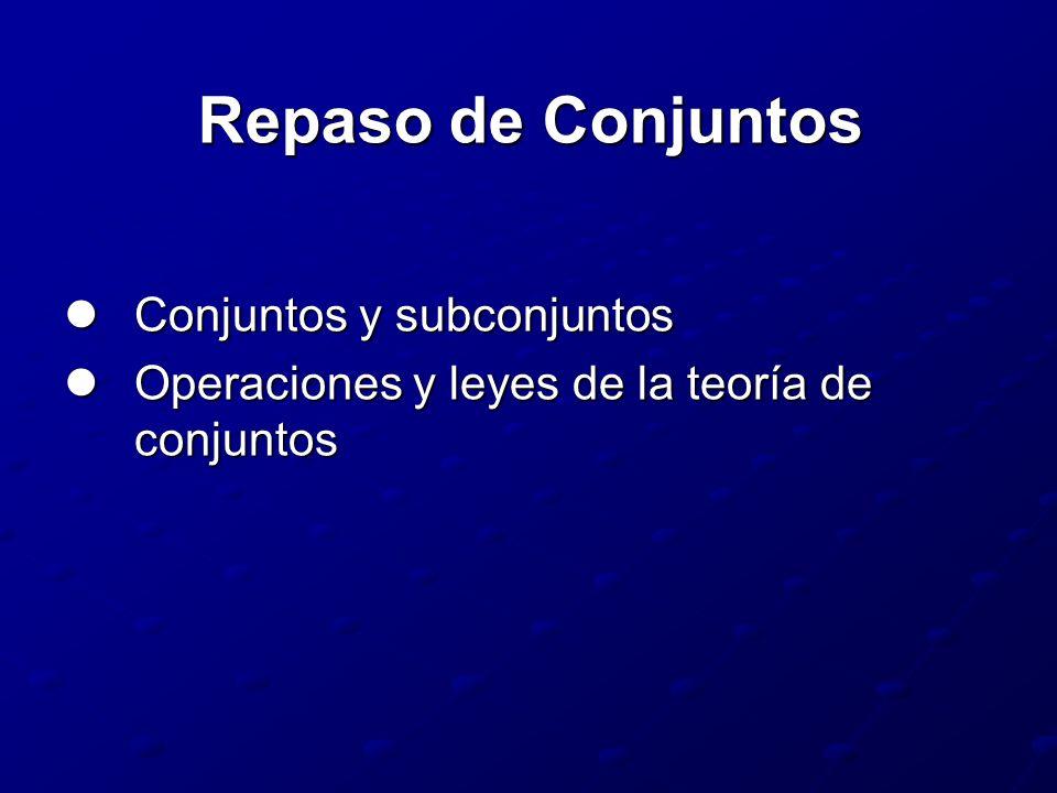 Repaso de Conjuntos Conjuntos y subconjuntos