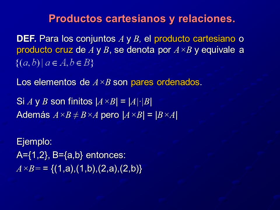 Productos cartesianos y relaciones.