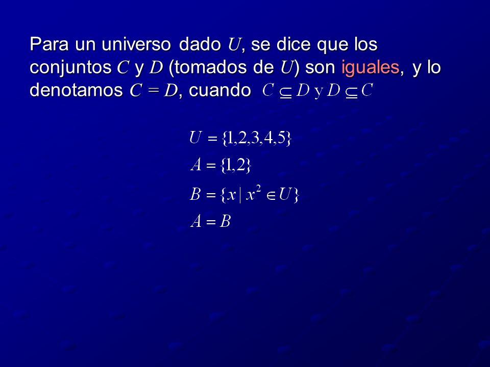 Para un universo dado U, se dice que los conjuntos C y D (tomados de U) son iguales, y lo denotamos C = D, cuando