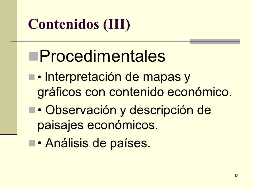 Procedimentales Contenidos (III)
