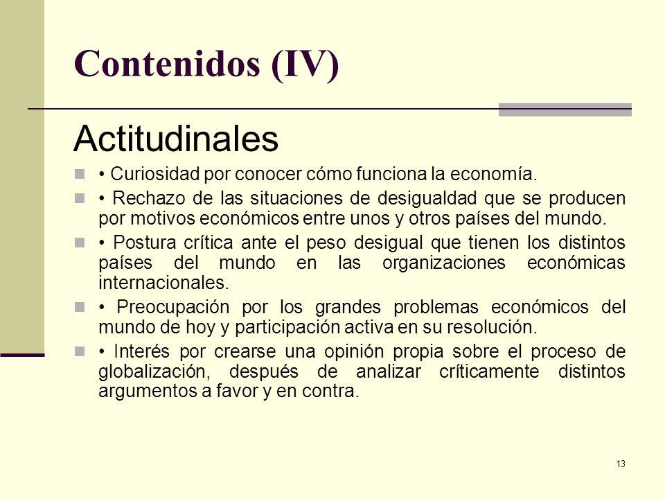 Contenidos (IV) Actitudinales