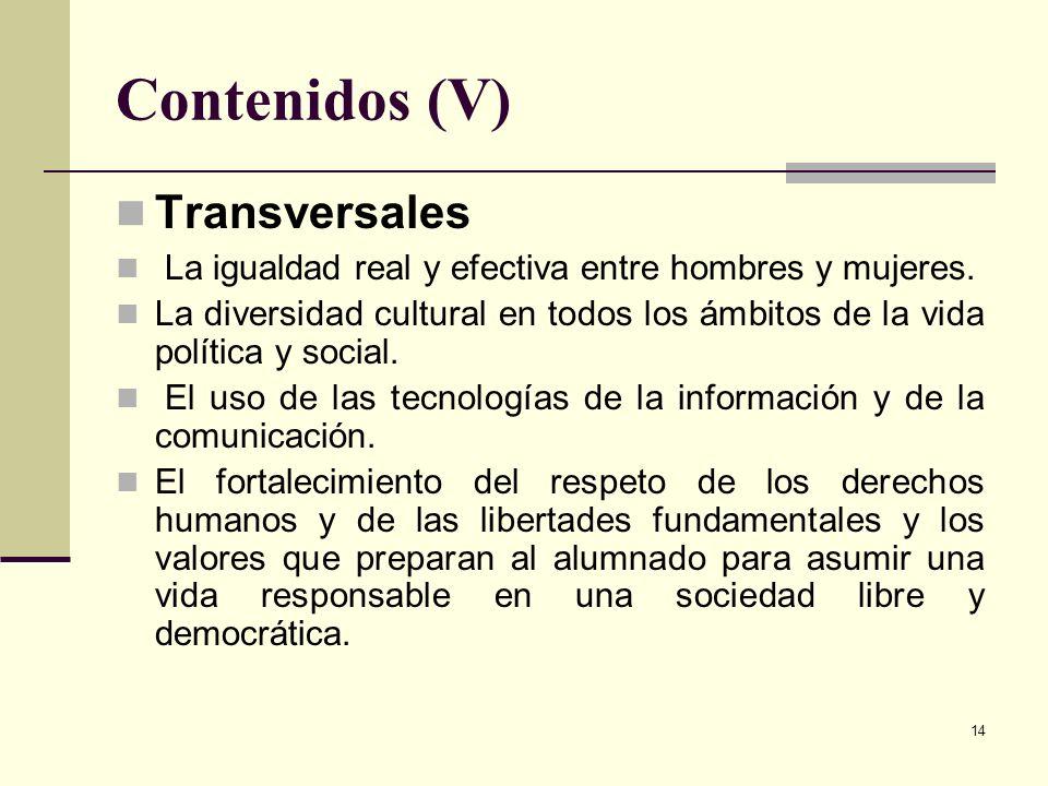 Contenidos (V) Transversales