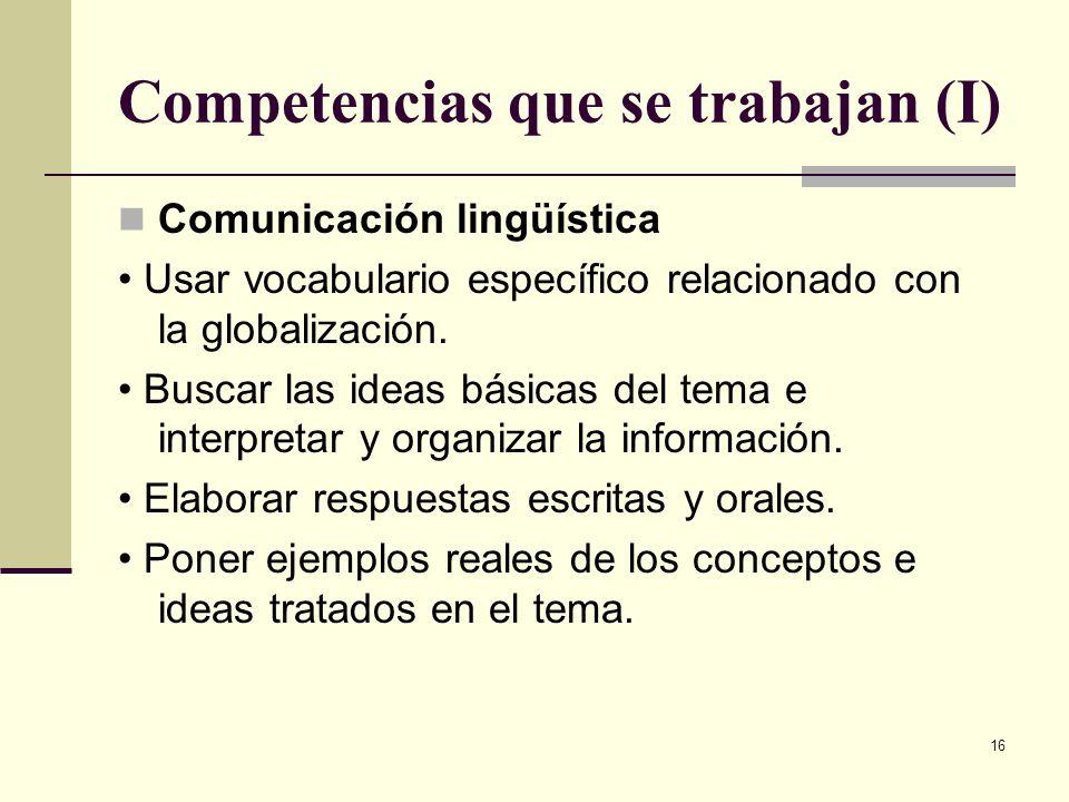 Competencias que se trabajan (I)