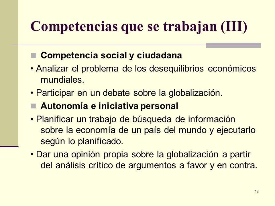 Competencias que se trabajan (III)