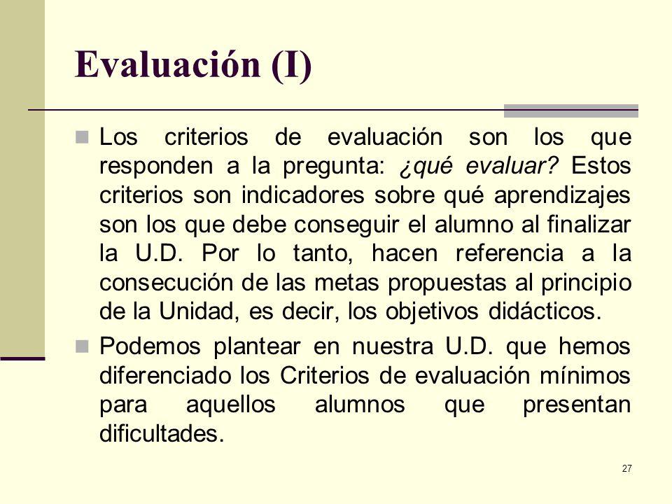 Evaluación (I)