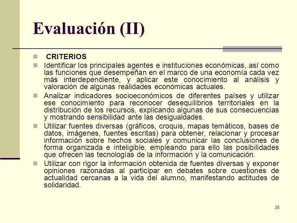 Evaluación (II) CRITERIOS