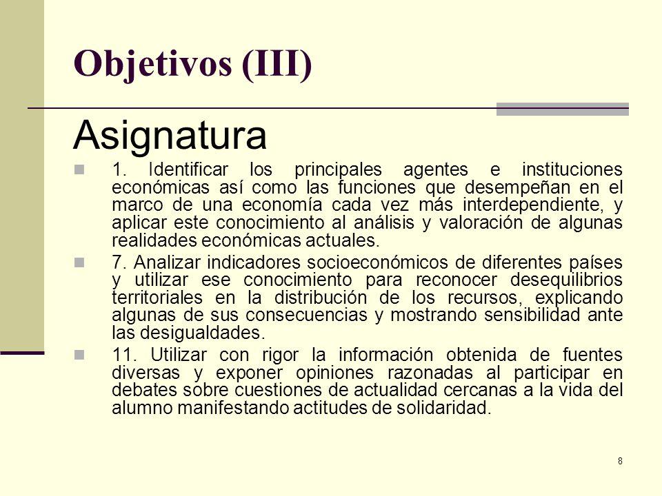 Asignatura Objetivos (III)