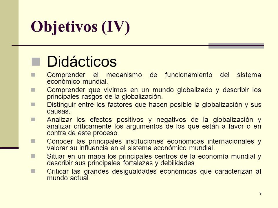 Objetivos (IV) Didácticos