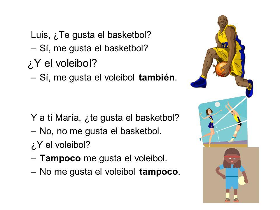 ¿Y el voleibol Luis, ¿Te gusta el basketbol