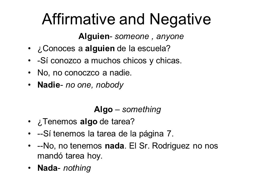 Affirmative and Negative