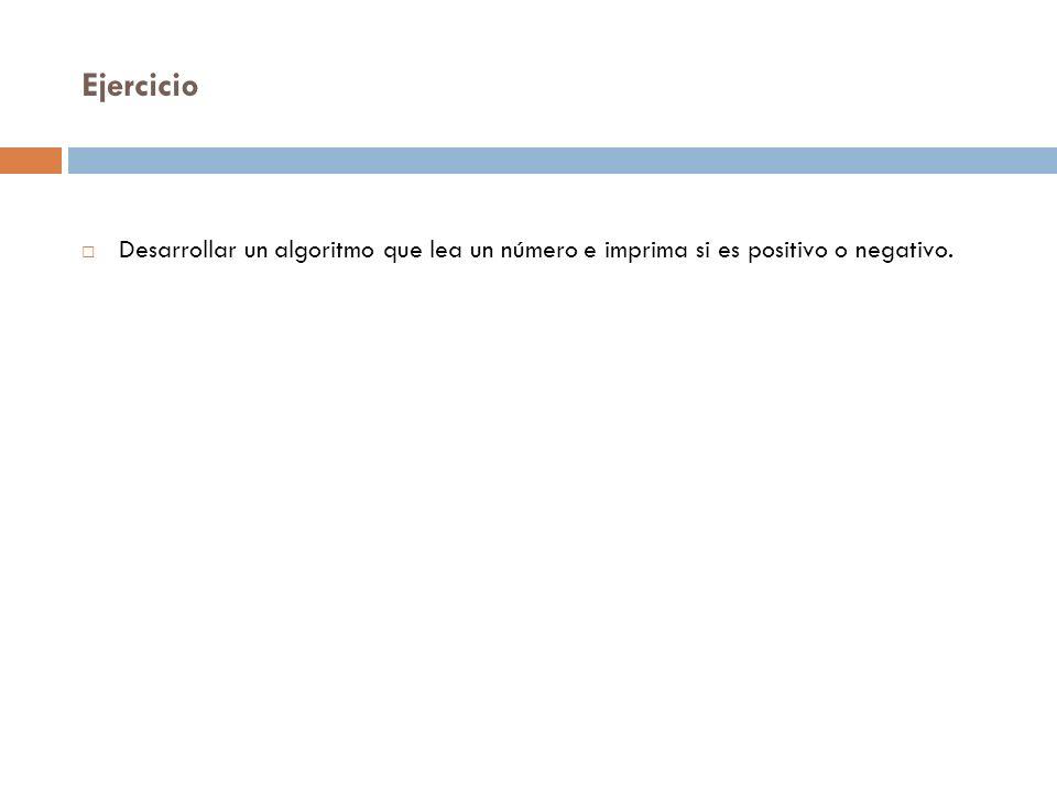 Ejercicio Desarrollar un algoritmo que lea un número e imprima si es positivo o negativo.