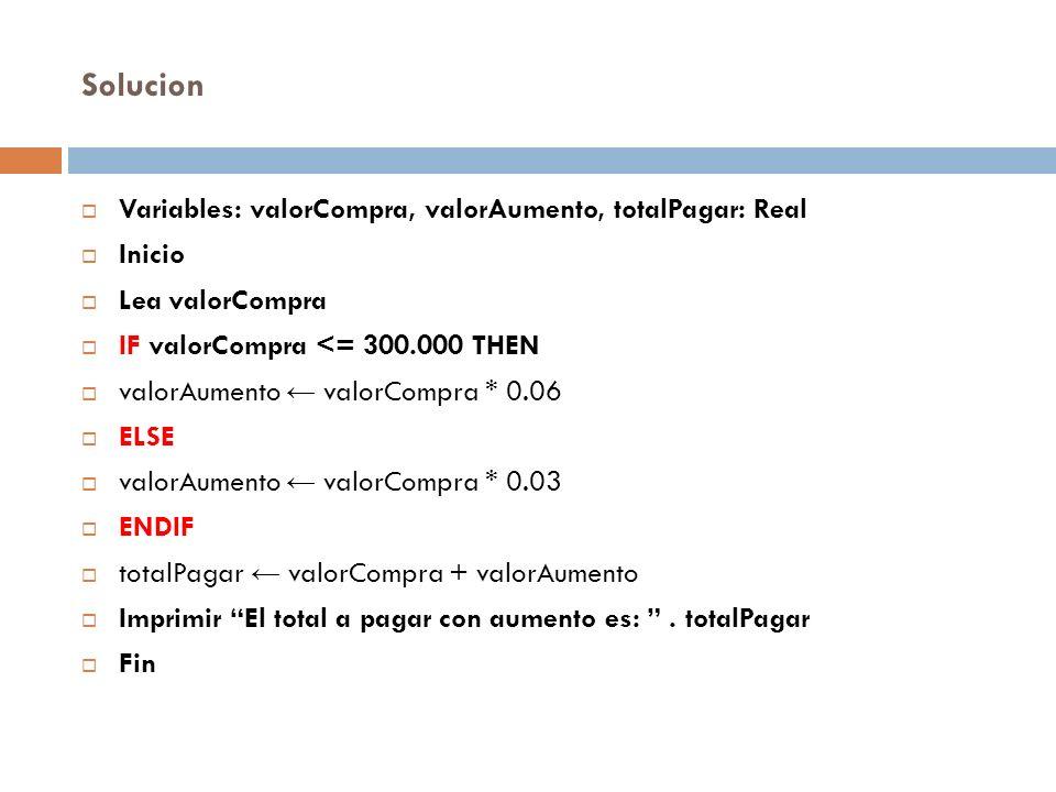 Solucion Variables: valorCompra, valorAumento, totalPagar: Real Inicio