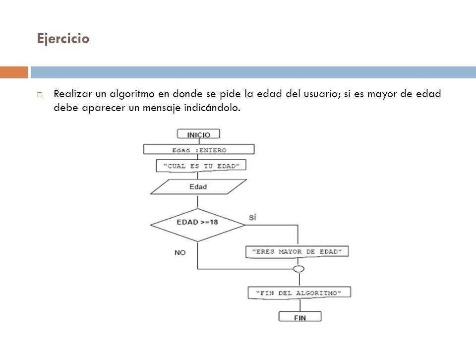 Ejercicio Realizar un algoritmo en donde se pide la edad del usuario; si es mayor de edad debe aparecer un mensaje indicándolo.