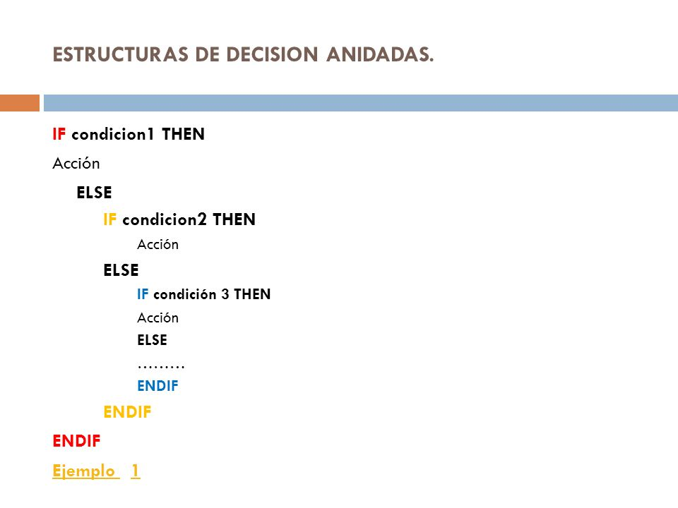 ESTRUCTURAS DE DECISION ANIDADAS.