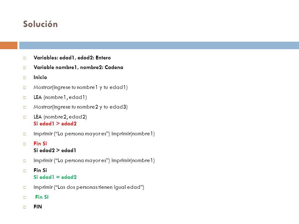 Solución Variables: edad1, edad2: Entero