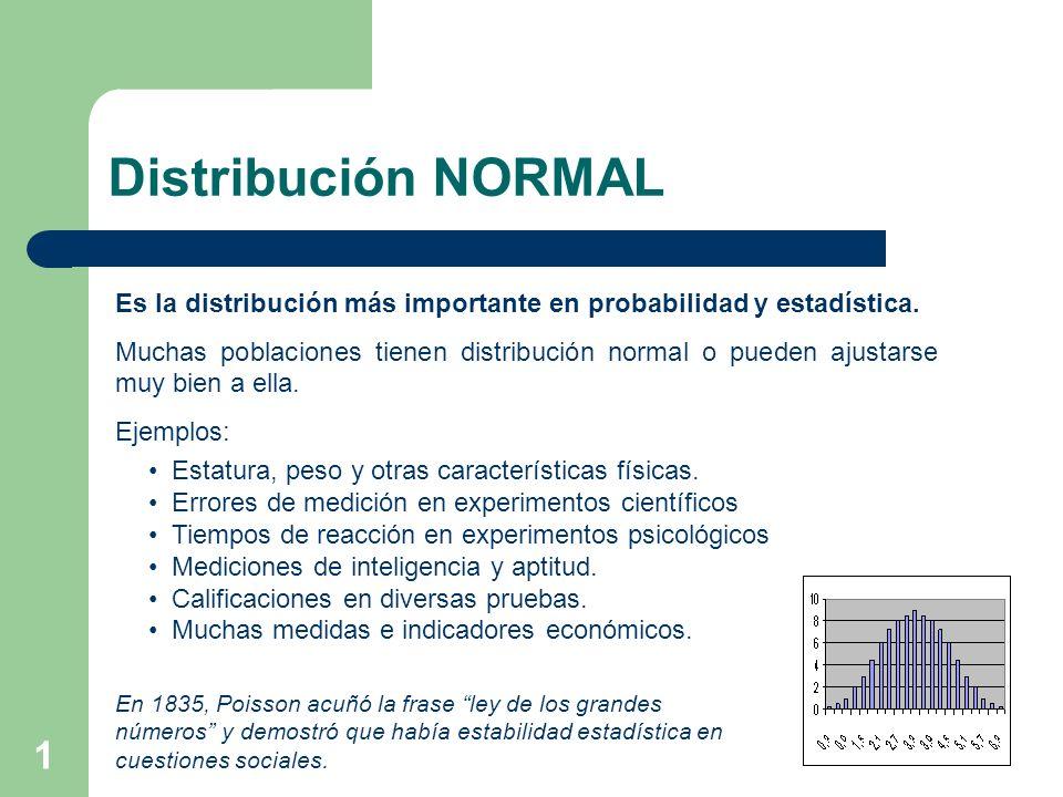 Distribución NORMAL Es la distribución más importante en probabilidad y estadística.