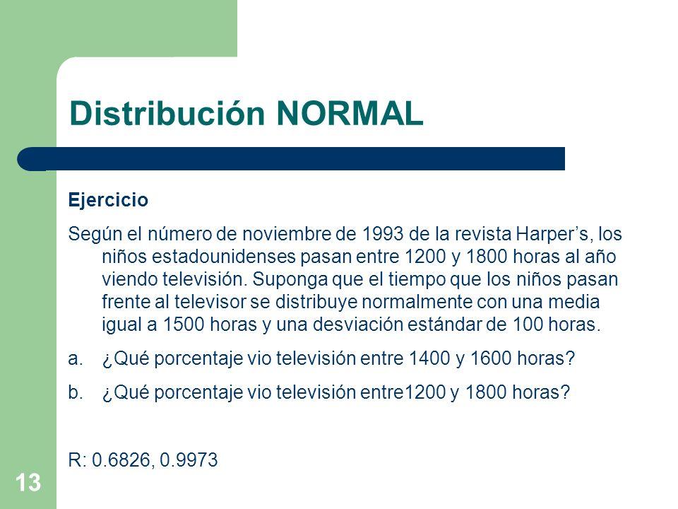 Distribución NORMAL Ejercicio