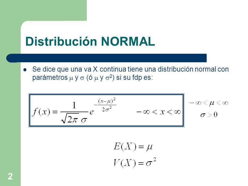Distribución NORMAL Se dice que una va X continua tiene una distribución normal con parámetros m y s (ó m y s2) si su fdp es:
