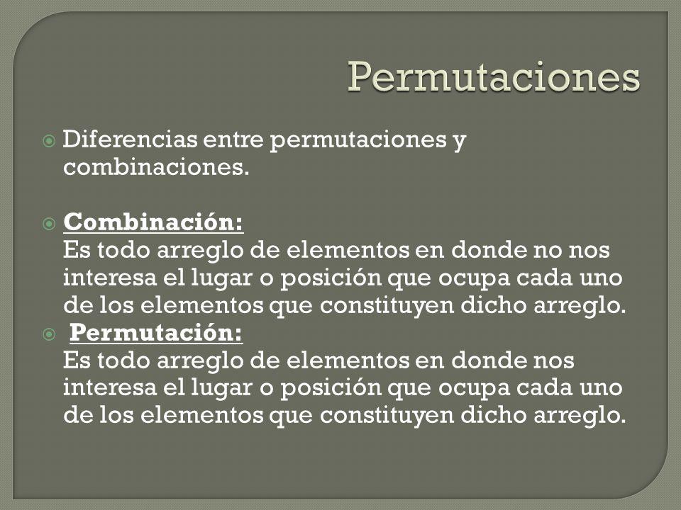 Permutaciones Diferencias entre permutaciones y combinaciones.