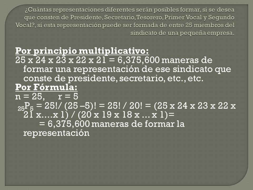 Por principio multiplicativo: