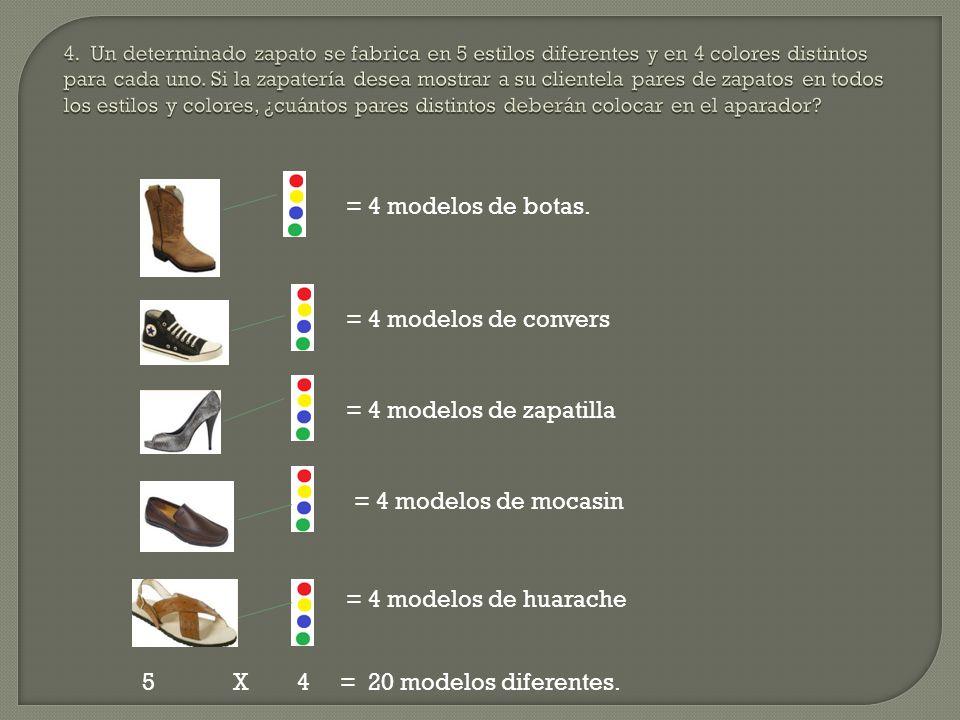 = 4 modelos de botas. = 4 modelos de convers = 4 modelos de zapatilla