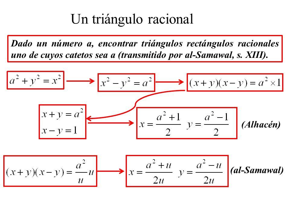 Un triángulo racional Dado un número a, encontrar triángulos rectángulos racionales uno de cuyos catetos sea a (transmitido por al-Samawal, s. XIII).