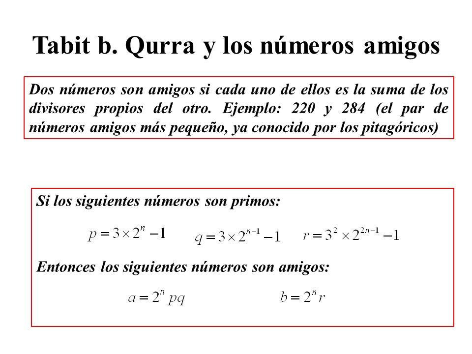 Tabit b. Qurra y los números amigos