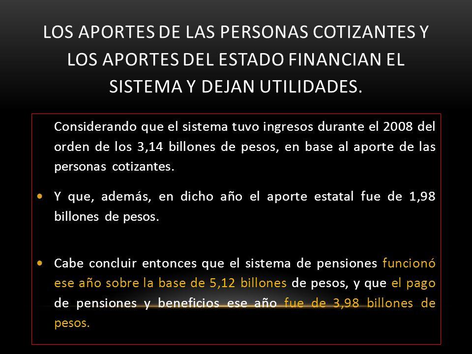 Los aportes de las personas cotizantes y los aportes del Estado financian el sistema y dejan utilidades.