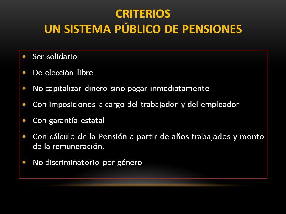CRITERIOS UN SISTEMA PÚBLICO DE PENSIONES
