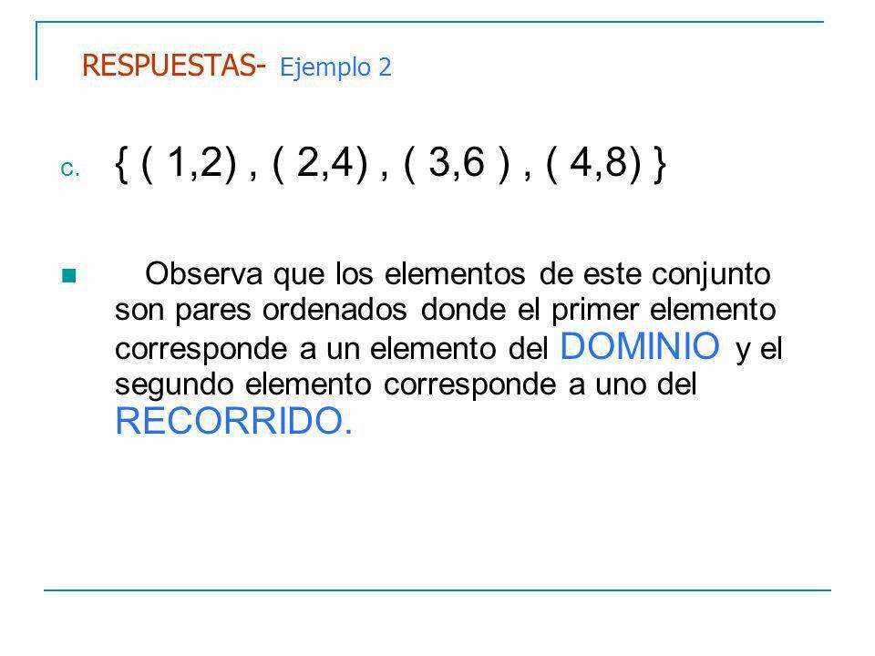 RESPUESTAS- Ejemplo 2 { ( 1,2) , ( 2,4) , ( 3,6 ) , ( 4,8) }