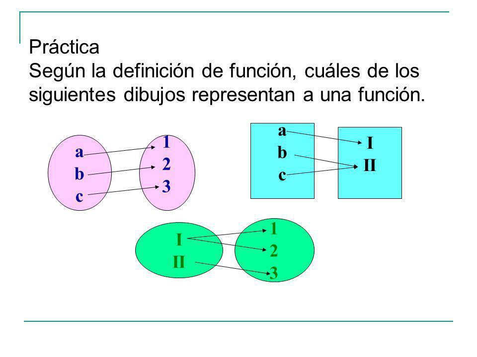 Práctica Según la definición de función, cuáles de los siguientes dibujos representan a una función.