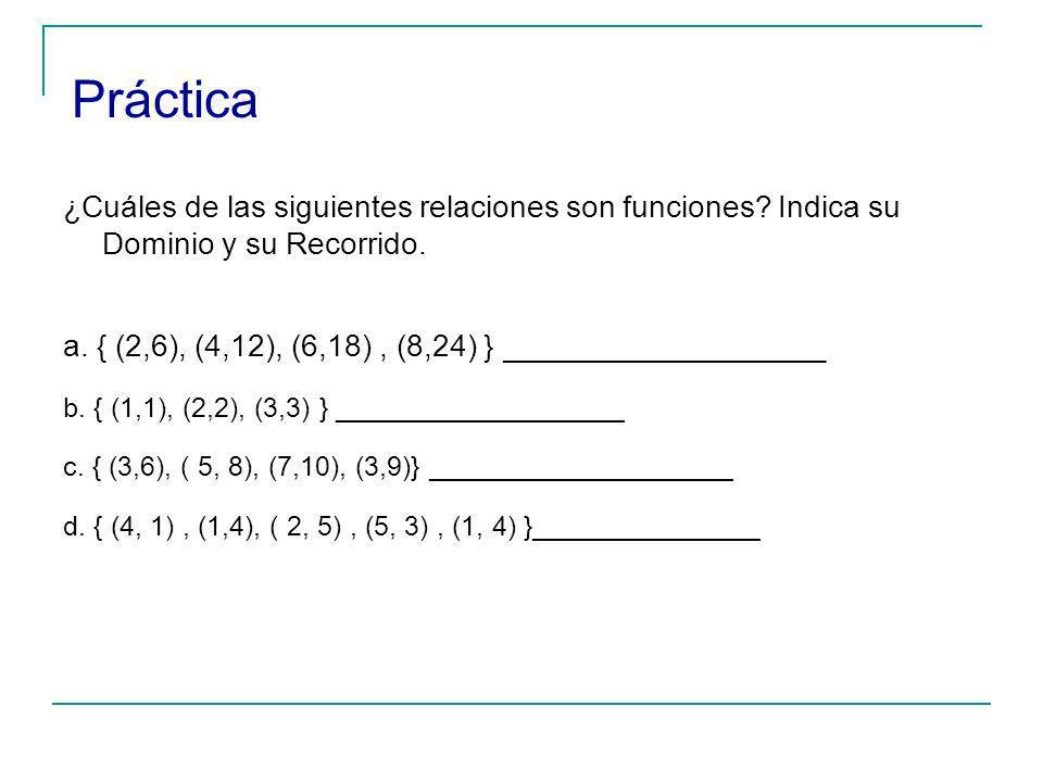 Práctica ¿Cuáles de las siguientes relaciones son funciones Indica su Dominio y su Recorrido.
