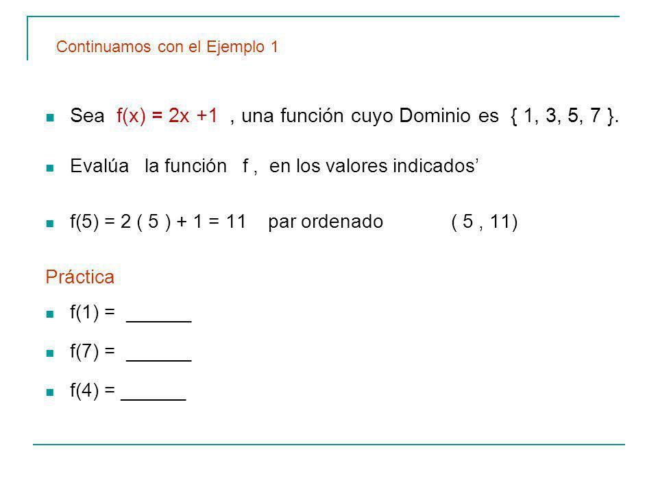 Sea f(x) = 2x +1 , una función cuyo Dominio es { 1, 3, 5, 7 }.
