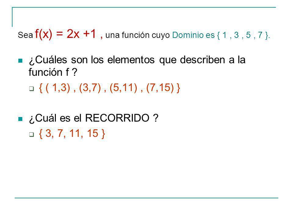 Sea f(x) = 2x +1 , una función cuyo Dominio es { 1 , 3 , 5 , 7 }.