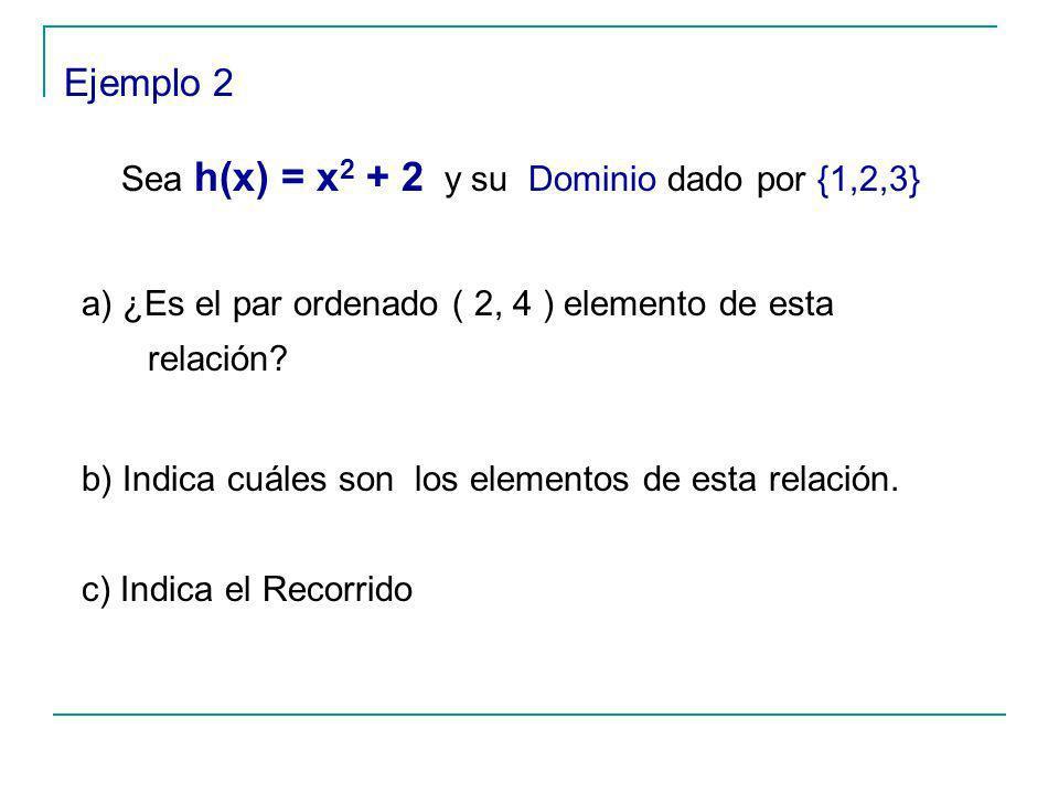 Sea h(x) = x2 + 2 y su Dominio dado por {1,2,3}