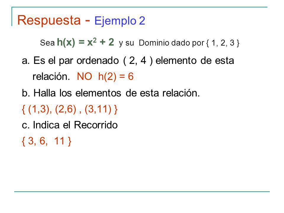 Sea h(x) = x2 + 2 y su Dominio dado por { 1, 2, 3 }