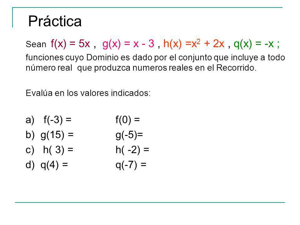 Práctica a) f(-3) = f(0) = b) g(15) = g(-5)= c) h( 3) = h( -2) =