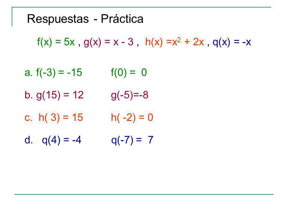 f(x) = 5x , g(x) = x - 3 , h(x) =x2 + 2x , q(x) = -x