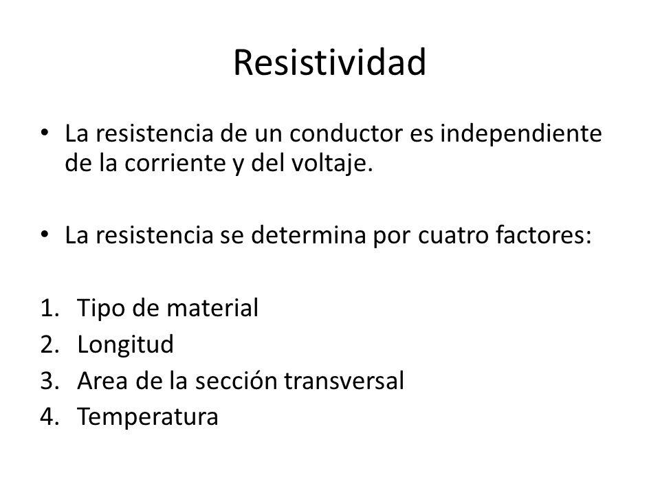 Resistividad La resistencia de un conductor es independiente de la corriente y del voltaje. La resistencia se determina por cuatro factores: