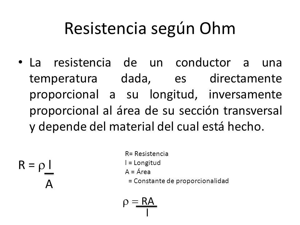 Resistencia según Ohm