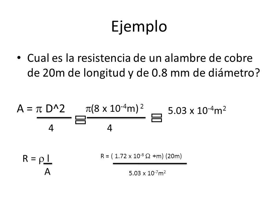 Ejemplo Cual es la resistencia de un alambre de cobre de 20m de longitud y de 0.8 mm de diámetro A = p D^2.