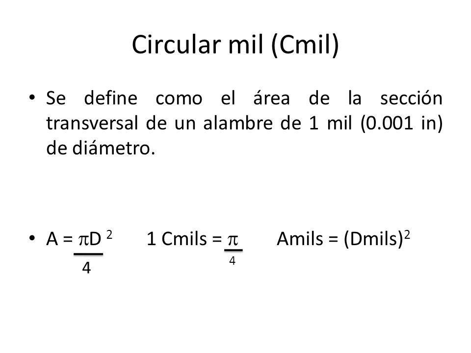 Circular mil (Cmil) Se define como el área de la sección transversal de un alambre de 1 mil (0.001 in) de diámetro.