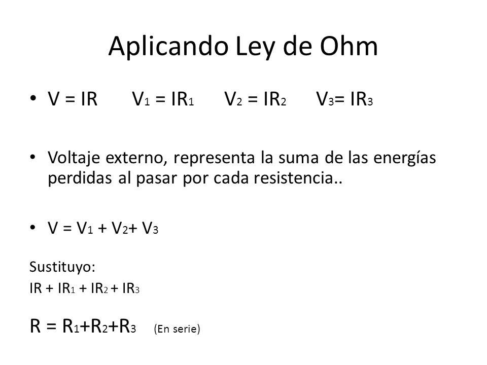 Aplicando Ley de Ohm V = IR V1 = IR1 V2 = IR2 V3= IR3