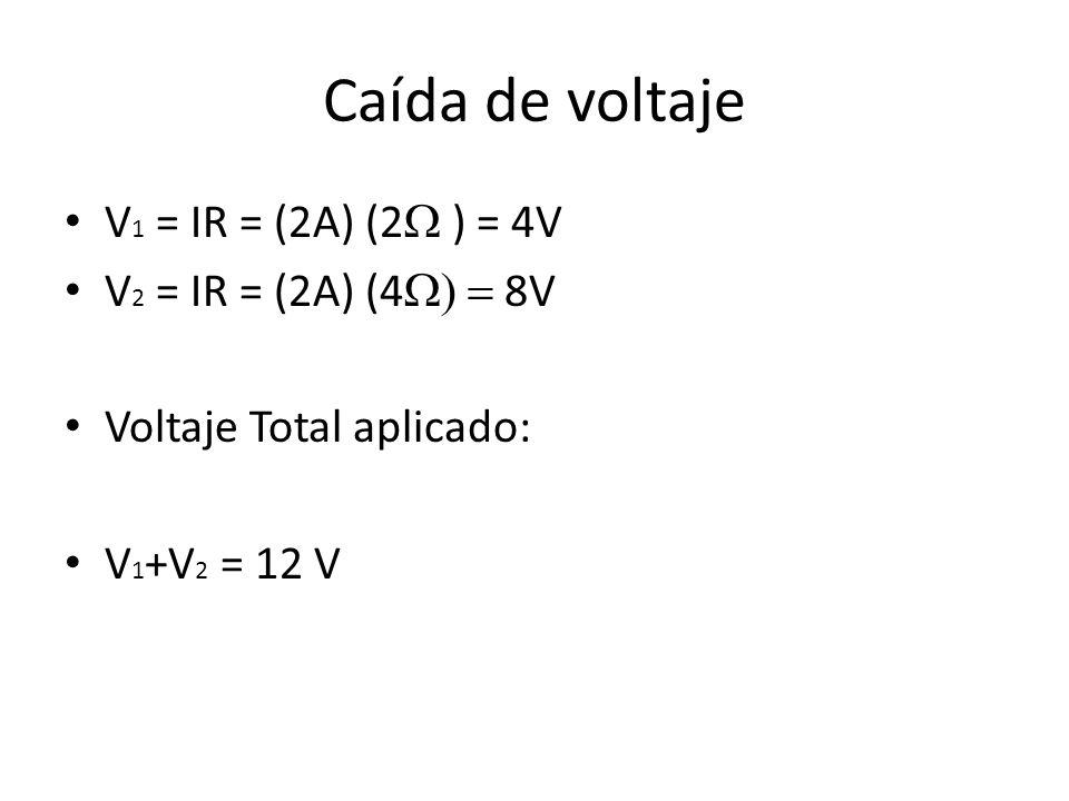 Caída de voltaje V1 = IR = (2A) (2W ) = 4V V2 = IR = (2A) (4W) = 8V